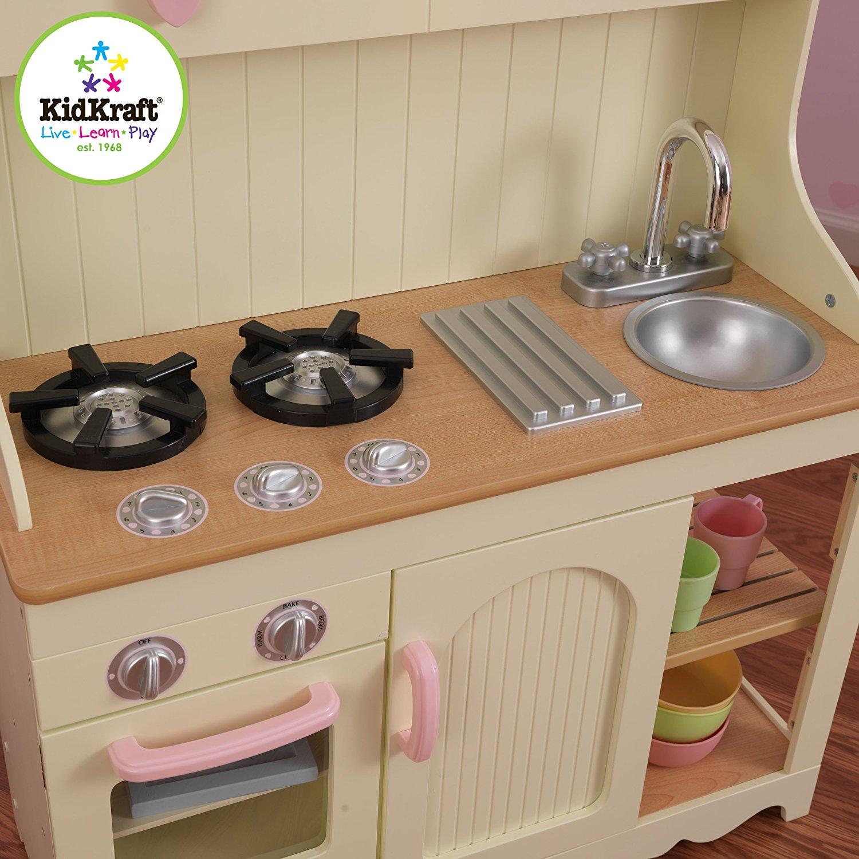 test cuisine pour enfant prairie kidkraft 53151 cuisine d 39 imitation cuisine enfant en bois. Black Bedroom Furniture Sets. Home Design Ideas
